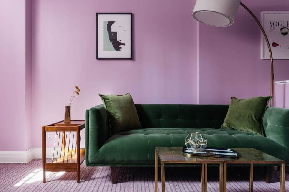 Living Room Painted Ultra-Violet with Dark Green Couch