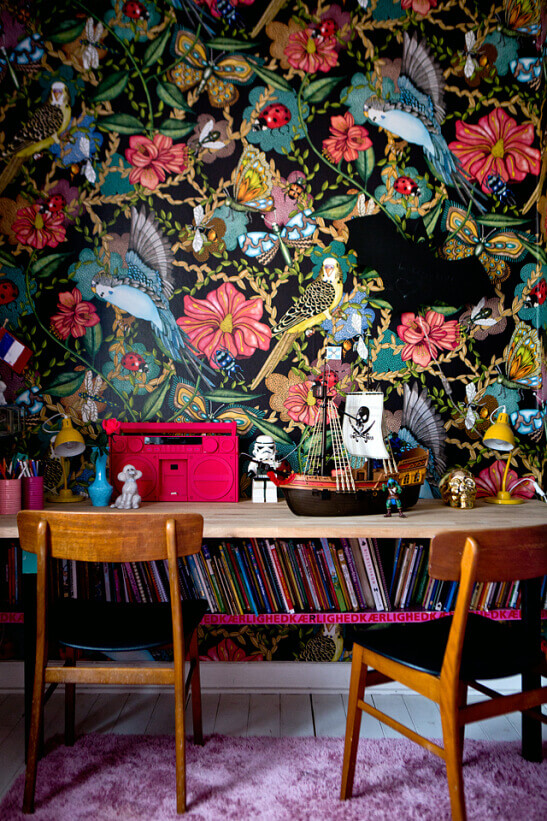 Room with flower wallpaper