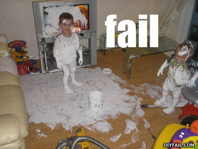 Kids making a mess with paint