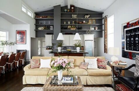 living space with accent walls