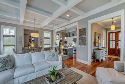 living space in home with wall color and decor coordinating colors