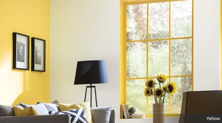 living space with yellow paint